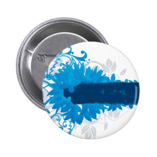 Flowers_frame-blue Pin Redondo 5 Cm