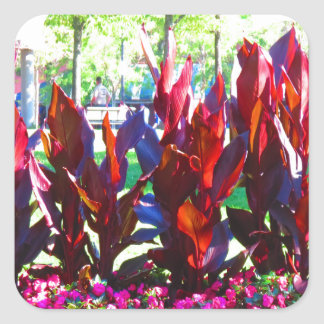 Flowers from Boston City Colorful Parks n Gardens Square Sticker