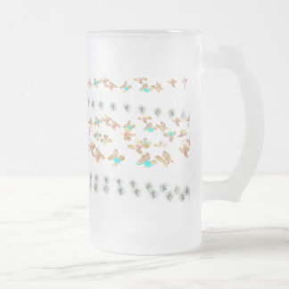 Flowers Frosted Glass Beer Mug