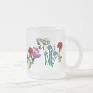 Flowers Frosted Glass Coffee Mug