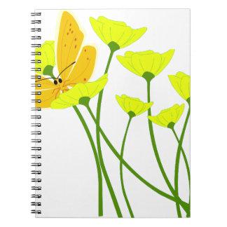 flowers garden butterfly nature yellow blossoms notebook