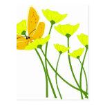 flowers garden butterfly nature yellow blossoms postcard