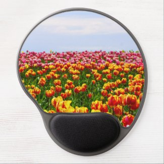 flowers gel mouse pad, tulips, nature scene gel mouse pad