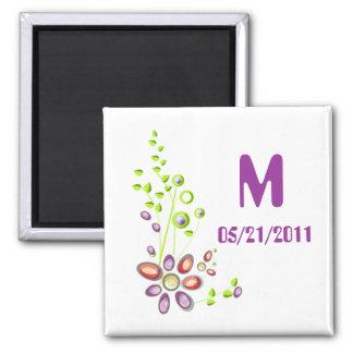 Flowers Gemstones and Pearls Monogram Magnet