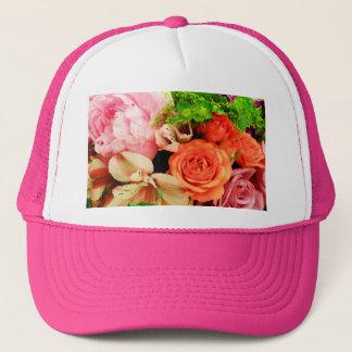Flowers given in love_ trucker hat