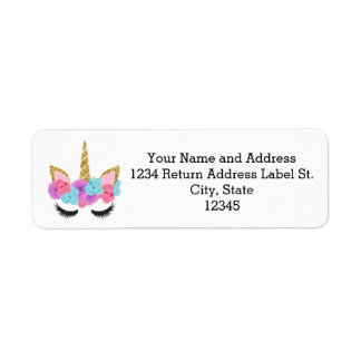 Flowers Gold Magical Unicorn Girls Label