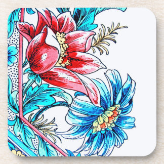Flowers Graphic Design, Blue and Red, White Back Drink Coaster