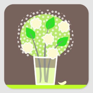 Flowers -green and brown stickers