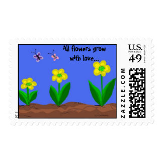 Flowers Grow With Love Stamp
