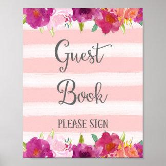 Flowers Guest Book Wedding Poster Print