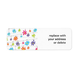Flowers hanging from a line return address label