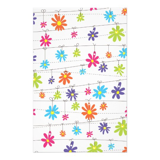 Flowers hanging from a line stationery