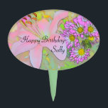 """Flowers Happy Birthday Sally Cake Topper<br><div class=""""desc"""">Happy Birthday Sally Flowers Pretty Colourful can be edited to suit.</div>"""