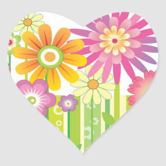 Flowers Happy Heart Sticker