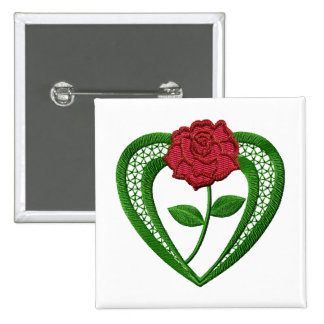 Flowers Heart Embroidery-Style Button