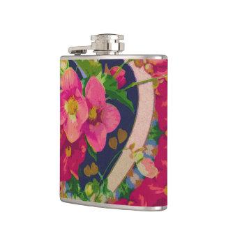 Flowers & Heart Hip Flask