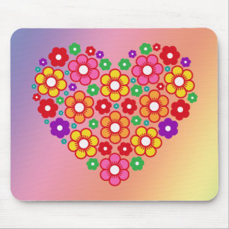 FLOWERS HEART MOUSE PAD