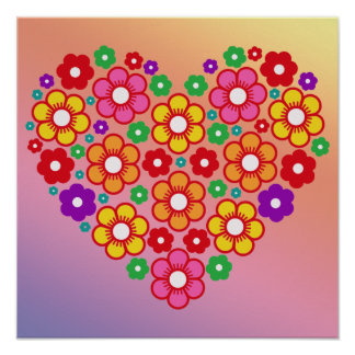FLOWERS HEART Poster