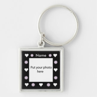 Flowers & Hearts Black Border Template Add Photo Keychain