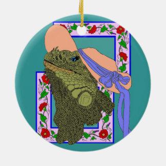 flowers, humor, iguana, ink, lizard, reptile, fant ceramic ornament