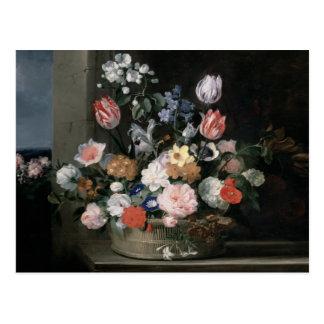 Flowers in a Basket, 1650-56 Postcard