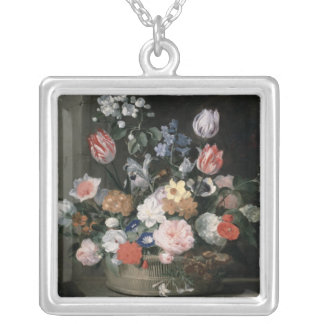 Flowers in a Basket, 1650-56 Silver Plated Necklace