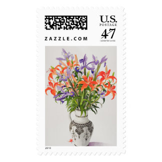 Flowers in a Black and White Jug Stamp