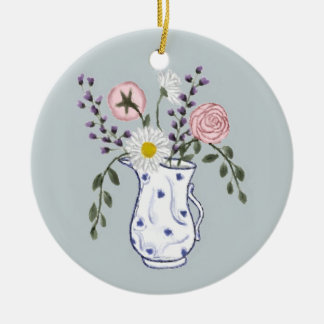 Flowers in a Blue and White Jug Ornament