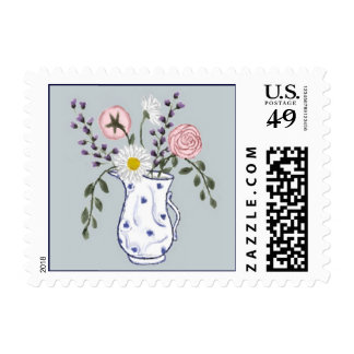 Flowers in a Blue and White Jug Postage Stamp