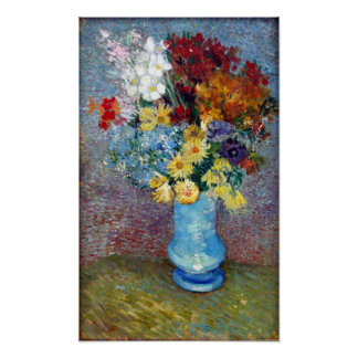 Flowers in a blue vase by Vincent van Gogh Poster