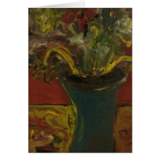 FLOWERS IN A BLUE VASE CARD