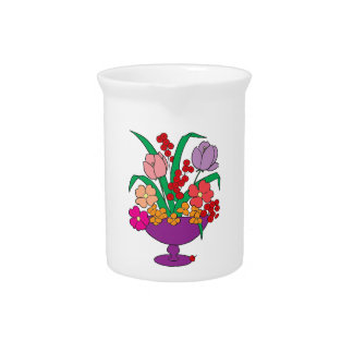 Flowers in a Bowl Drink Pitcher
