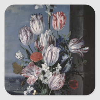 Flowers in a Crystal Vase, 1652 Square Sticker