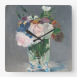 Flowers in a Crystal Vase, c.1882 (oil on canvas) Square Wall Clocks