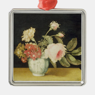 Flowers in a Delft Jar (oil on panel) Metal Ornament