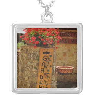 Flowers in a garden, Monteriggioni, Siena Silver Plated Necklace