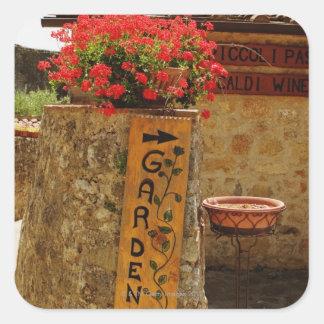 Flowers in a garden, Monteriggioni, Siena Square Sticker