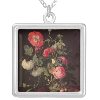 Flowers in a Glass Vase, 1667 Silver Plated Necklace