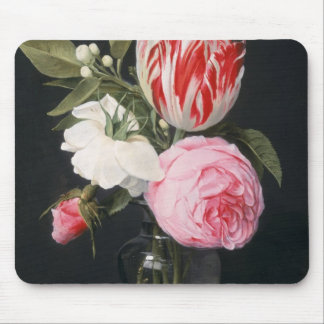 Flowers in a glass vase mouse pad