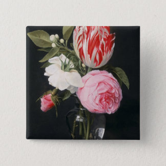 Flowers in a glass vase pinback button
