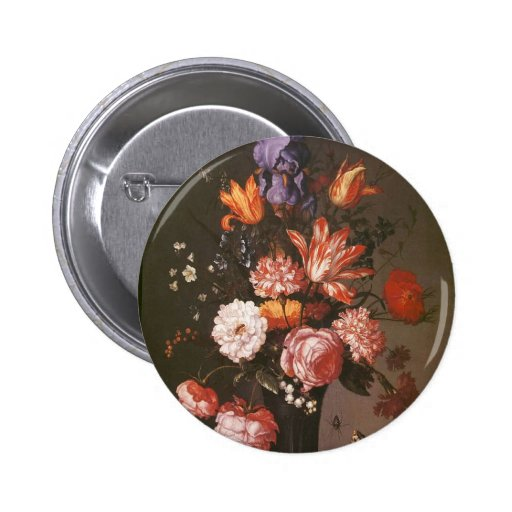 Flowers in a Glass Vase Pinback Buttons