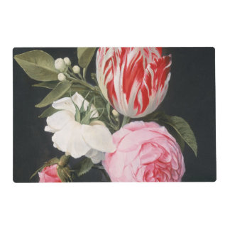 Flowers in a glass vase placemat