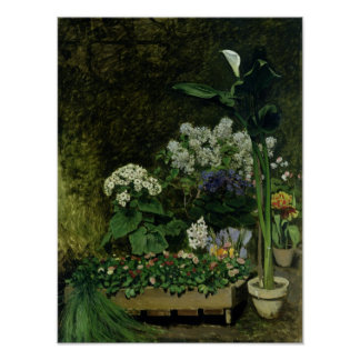 Flowers in a Greenhouse, 1864 Poster