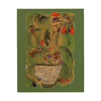 Flowers In A Pot fine art mixed med. wood wall art