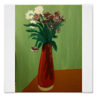 Flowers in a red vase poster