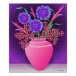 Flowers in a red vase print