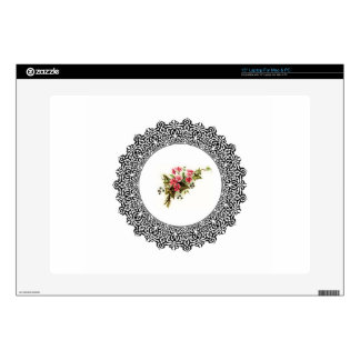 """flowers in a round frame decal for 15"""" laptop"""