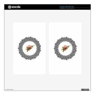 flowers in a round frame kindle fire skins