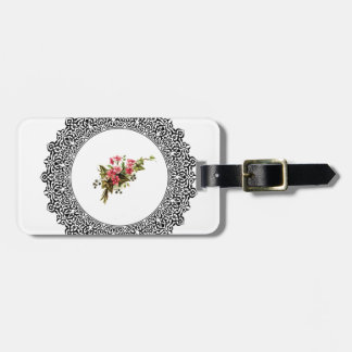 flowers in a round frame luggage tag