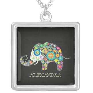 Flowers In A Shape Of An Elephant Square Pendant Necklace